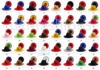 Más reciente 40 colores de alta calidad de alta calidad fake fieltro fieltro fieltro sombrero de fedora 2 tonos diferentes tapas de ala de color para mujeres hombres