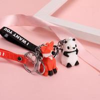 Cartoon Geometrische Gesicht Tier Keychain Dinosaurier Panda Paar Kreative Ins Persönlichkeit Auto Nette Tier Anhänger Puppe Tasche Ornament DWF5401