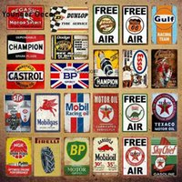 Vintage Texaco Champion Motor Oil Tin Signs Gulf Motorcycle Car Tyres Poster Garage Shop Gasoline Home Metal Wall Decor YI-004