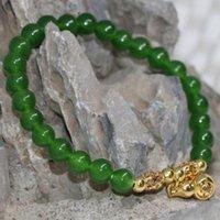 Charm Armband 10 Stil 6mm 8mm 10mm Naturlig grön färgad Chalcedony Jades Round Pärlor Armband Bangle för Kvinnor Kostym Smycken 7.5inch B194