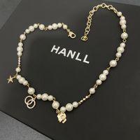 Ontwerp Ketting DamesRound Bead Chain Glass Pearl Gouden Messing Materiaal Dames Kleine Geur Ingelegd met Diamond Star Classic