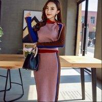 Sonbahar Vintage Rahat İki Kadın Elbise Parçaları Kintted Takım Elbise Kazak Elastik Set Uzun Kollu Üst AMP Kalem Etek Yüksek Setleri