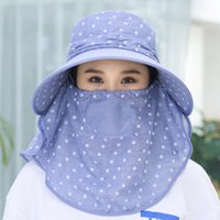 Hats & Scarves Sets Summer Anti Ultraviolet Sunshade Hat Detachable Face Protection Hat Korean Fashion Tea Picking Hat Outdoor Wind Proof and Breathable