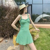 Casual Dresses Summer 2021 Women Dress Mini Party Floral Print Slip Short Sexy Prom Backless Bodycon Beach Boho Green Female Clothing Sundre