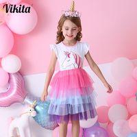 Vikita meninas unicórnio tutu vestido crianças lantejoulas princesa vestido meninas vestido de festa de aniversário crianças vestidos de verão crianças 210226