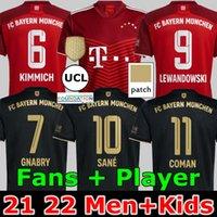 21 22 FC Bayern München Lewandowski Fußball Jersey Goretzka Fans Spielerversion Home Rot Sane Gnabry Coman Müller Davies Kimmich 2021 2022 Männer + Kinder Kit Fußball Hemd