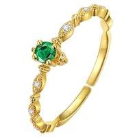 925 الفضة الاسترليني الأزياء الذيل الدائري النساء تصفيح 14K الذهب تصميم بسيط مطعون الزمرد الزفاف مجوهرات اكسسوارات 2690 Q2