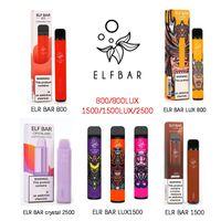 ELF BAR Оригинальные одноразовые электронные сигареты устройства Vape Pod R 800 800Lux 1500 1500Lux Crystal 2500 Hotsale Односнабжение 2% и 5% прочности доступны XXL MAX