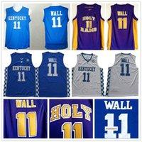 NCAA 거룩한 램 고등학교 존 # 11 벽 보라색 농구 유니폼 켄터키 와일드 캣 대학 스티치 존 벽 농구 유니폼 셔츠