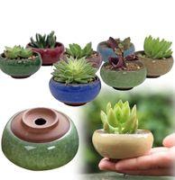 Macetas de cerámica de grietas de hielo para plantas jugosas Pequeño bonsai Pot Home and Garden Decor Mini Suculent Plant Pots 8 colores