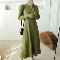 Casual Dresses Autumn And Winter Full Sleeves Thin Waist Ladies Knitted Dress Elegant Warm Half High Neck A-Line Sweater