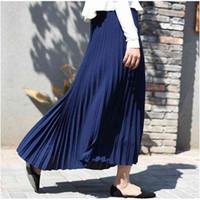 Qooth Autumn Women Skirt Vintage Long Saias High Waist Maxi Saia Longa Falda Pleated Jupe QH1675 210609