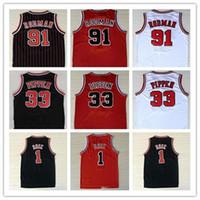 Bordado bestqualidad 1 Derrick Rose transpirable Deporte 33 Scottie Pippen Jersey Barato 91 Dennis Rodman Sportswear Jersey cosido