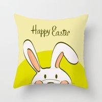 Mutlu Paskalya Yastık Kılıfı Paskalya Bunny Yumurta Dekoratif Yastık Kapak Karikatür Tavşan Baskı Yastık Kapak Kanepe Araba Ev Dekor 45 * 45 cm ZZC3588