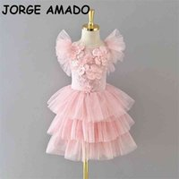 Flower Girl Dresses Flare Sleeve Smocking Layer Cake Dress Princess for Party Wedding Show Kids Clothes E1960 210610