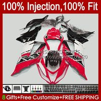 Carénage d'injection pour Kawasaki Ninja ZX 6R 6 R 636 600 CC 600CC 12NO.42 ZX600 ZX636 ZX6R 13 14 15 16 17 18 ZX-636 ZX-6R 2013 2014 2015 2017 2018 Body OEM Glossy rouge
