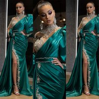 2021 Bling Sexy Evening Dresses Wear Hunter Green High Neck Long Sleeves Satin Crystal Beading Side Split Mermaid Party Dress Prom Gowns