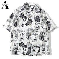 Аджижи череп печати гавайская рубашка мужчины летний хип-хоп уличная одежда Harajuku рубашки повседневная короткая рукава пляжная рубашка для мужчин топы тройки P0812