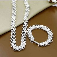 Jewelry Silver 925 Fashion Three Rows Round Circle Necklace Bracelet Sets for Woman Men Gift