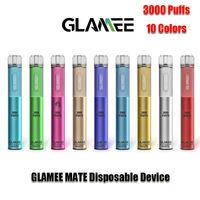 Authentic Glamee Mate Dispositivo monouso Kit 1800mAh Batteria Presilled 16ml Pod 3000 Penna Penna Penna Vai Genuine VS Bar Plus