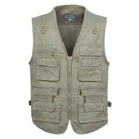 Men's Vests 5XL 6XL 7XL Male Casual Summer Big Size Cotton Sleeveless Vest With Many 16 Pockets Men Multi Pocket Pograph Waistcoat
