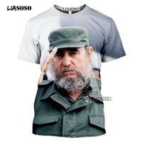 Liasoso Imprimé décontracté Chemise Cuba Chemise Che Guevara T-shirt T-shirt Femmes Homme Tees Short Harajuku 3D Fidel Street Castro Summer Osutl