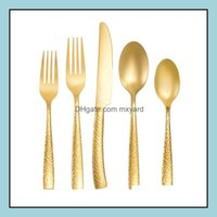 Sets Kitchen, Dining Bar Home & Garden Flatware 5 Color Stainless Steel Knife Fork Spoon 5-Piece Dinnerware Plated Cutlery High-Quality Tabl
