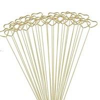 Gifts Wrap Packaging Florist Bouquet Gift Card Holders Golden Round Heart Star Metal Long Stick Flower Clip OWD10134