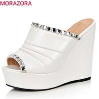 MORAZORA PU женские сандалии кристалл открытый носок летняя обувь Rome клинья платформа женщина вечеринка свадьба 210619