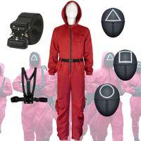 Halloween-Spielzeug-Peripherie-Kleidung der koreanischen TV-Serie, roter einteiliger Anzug mit Gürtelhandschuhen, Halloweens Rollenspiele-Requisiten-Partei Dekorieren von Lieferungen COS-Kostüm