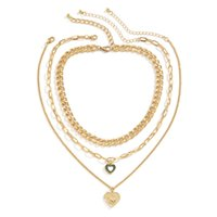 Yamog Women Love Shape Angle Pendant Necklaces Hollow Out Metal Cross Clavicle Chains European Female Multi Layer Oil Drop Thick Thin Collarbone Link Gold Silver