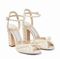 Elegant Brands White Pearls Sandals Shoes Bridal Wedding Sacora Perfect Designer Women's High Heels Peep Toe Lady Pumps Gladiator Sandalias EU35-43