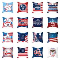 애국 독립 기념일 쿠션 커버 45x45cm 미국 국기 인쇄 친환경 복숭아 피부 베개 케이스 40 스타일