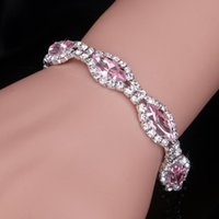 Link, Chain 4 Colors Fashion Crystal Bracelets & Bangles For Women Charm Marquis Shape Bridal Femme Wedding Jewelry Accessories