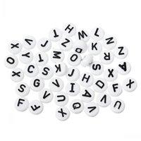 아크릴 스페이서 조랑말 구슬 평면 라운드 알파벳 / 문자 화이트 10mm Dia, 구멍 : 약 2.4mm, 200pcs 보석 발견 DIY 도매 만들기
