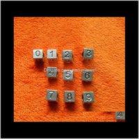 Lega cubica metallo allentato 1-9 lettere numeri cubo cuore quadrato cuore smalto nero smalto grande foro perline misura serpente Scheletro Braccialetto / collana IHSL Wioso