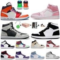 With Box Jumpman 1 1s Newest Basketball Shoes High OG Hyper Royal Fearless Barely Orange Smoke Grey UNC Twist Obsidian Shadow 2 Women Mens