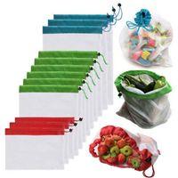 Armazenamento da cozinha 5pack Reusável Produção dos sacos de corda preta malha vegetal brinquedos de frutas do organizador Bolsa de cordão de poliéster durável