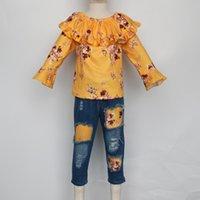 Clothing Sets Girlymax Fall Winter Mustard Floral Top Long Sleeve Baby Girls Ruffles Denim Jeans Pants Set Kids