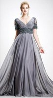 Elegant Gray Chiffon Mother Of The Bride Dresses A Line Long Formal Evening Gowns God Mothers Plus Size V Neck Wedding Guest Dress Groom Mom Prom Wear