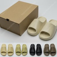 With Box Slides Slippers sandals Sneakers Shoes Graffiti Bone White Resin Desert Sand Rubber Summer Earth Brown Flat Men Women Beach Classic fashion Trainers