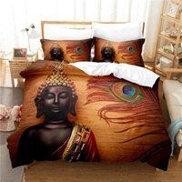 Bedding Sets Buddha Statue Set Duvet Cover 3d Digital Printing Bed Linen Queen Size Fashion Design