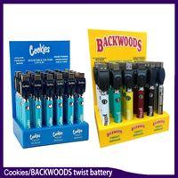 Biscotti Backwoods Twist VV Batteria VV Preheat Tensione di fondo regolabile 900mAh Vape Pen Cartridge 510 Ego con scatola di visualizzazione 30pcs Pack 0270005