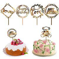 Другие праздничные вечеринки поставляет день рождения вставка акриловые свадебные украшения торта годовщина дня верхний флаг декор Валентина любовная карта