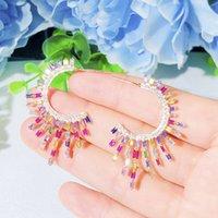Qoolady unieke ontwerp geometrische multicolor regenboog kubieke zirkonia c vorm oorbellen voor vrouwen boho bruiloft sieraden E157