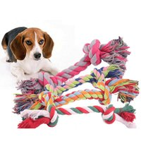 Pet Dog Puppy Double Knot Chew Rope Knot Toys Clean Teeth Durable Braided Bone Rope Pet Molar Toy Pet Supplies Random Color