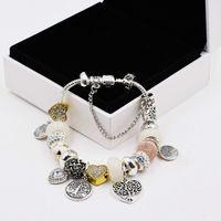 925 Silber überzogener Baum des Lebens Anhänger Charms Armband Set Original Box für Pandora Schlange Kette DIY Perlen Charme Armbänder für Frauen Mädchen