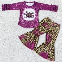 Wholesale Kids Designer Clothes Girl Sets Little Baby Girls Boutique Halloween Clothing Long Sleeve Bell Bottom Outfits Fashion Pumpkin Print Fall Outfit
