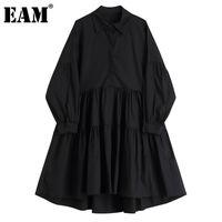 Casual Dresses [EAM] Women Black Irregular Pleated Long Big Size Dress Lapel Sleeve Loose Fit Fashion Tide Spring Autumn 2021 1DD5425