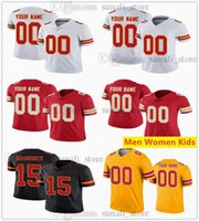 Cucito Maglie di calcio 15 Patrick Mahomes 87 Travis Kelce 32 Tyrann Mathieu 10 Tyreek Hill 25 Clyde Edwards-Helaire 76 Laurent Duvernay-Tardif Uomo Donne Bambini